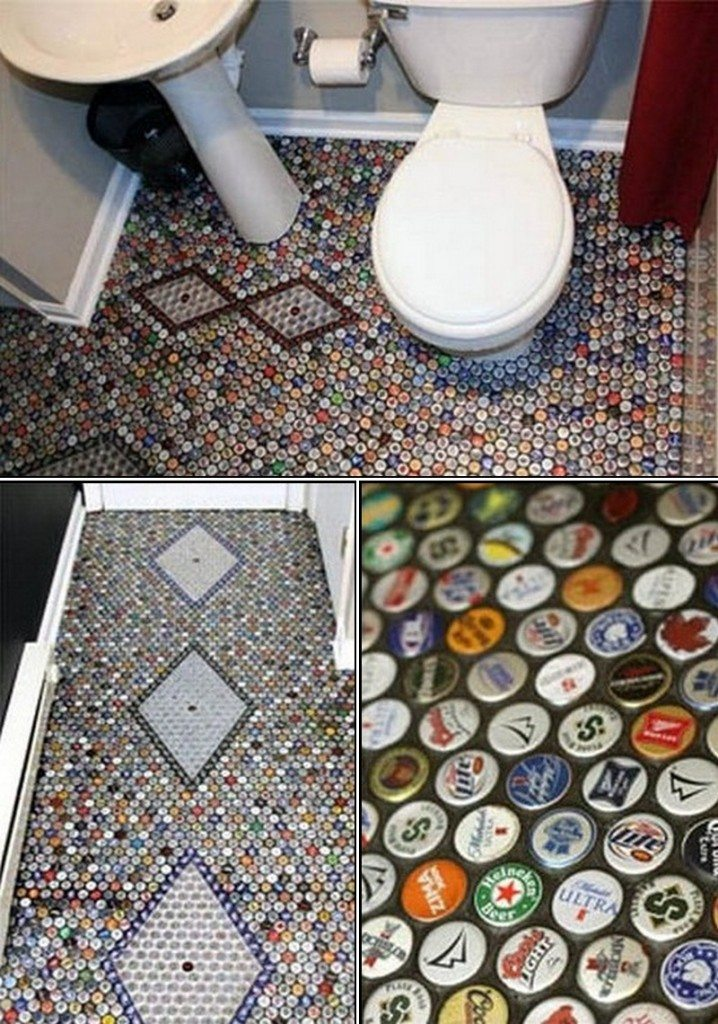 Hhhmmmm. A mosaic bathroom floor made with metal bottle tops. Do you think it would be slippery when wet?