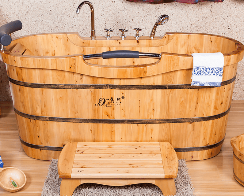 This handcrafted cedar tub costs around $700 plus freight