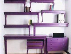 An office made from repurposed coffee tables! You might not be a fan of the color, but what do you think of the idea?