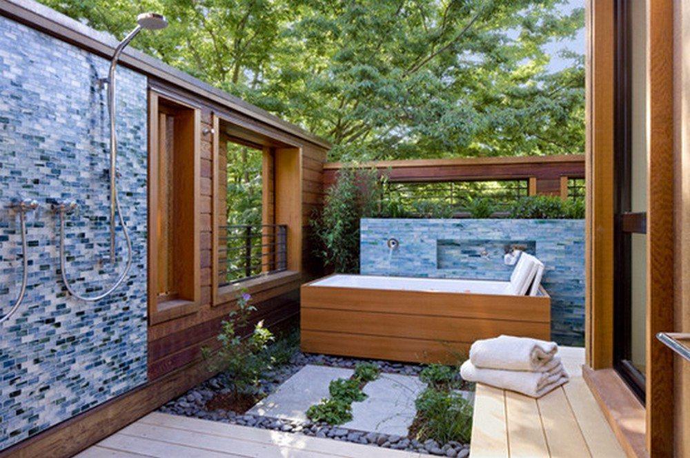 Tile and cedar.  Nice?