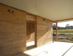 Internal walls are all rammed earth