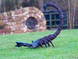 Stacked slate and inuit inspired scorpion sculpture
