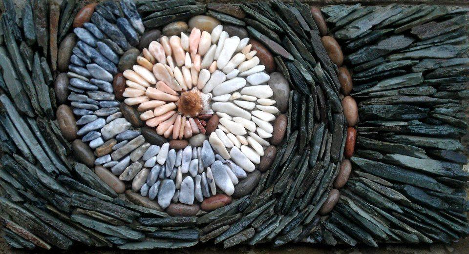 Slate and pebble mosaic
