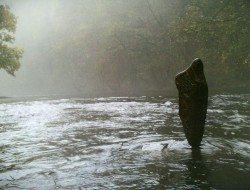 Stone balancing 'a beautiful misty morning'