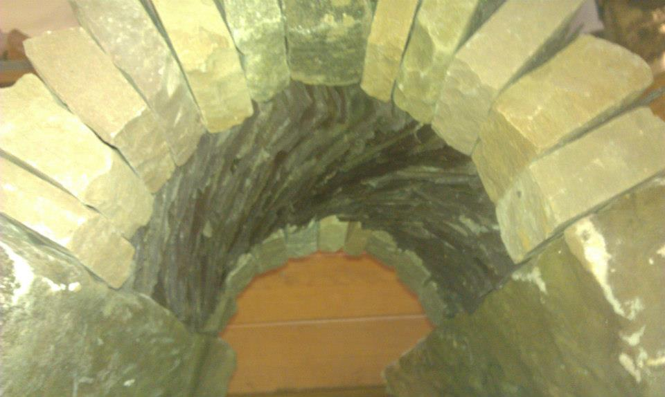 A part model of the 'portal', the future sculpture would be a walk in tunnel with a 360 degree of spiralling flowing stone