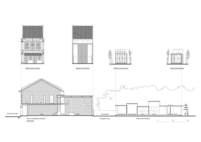 lucky shophouse elevations and sections