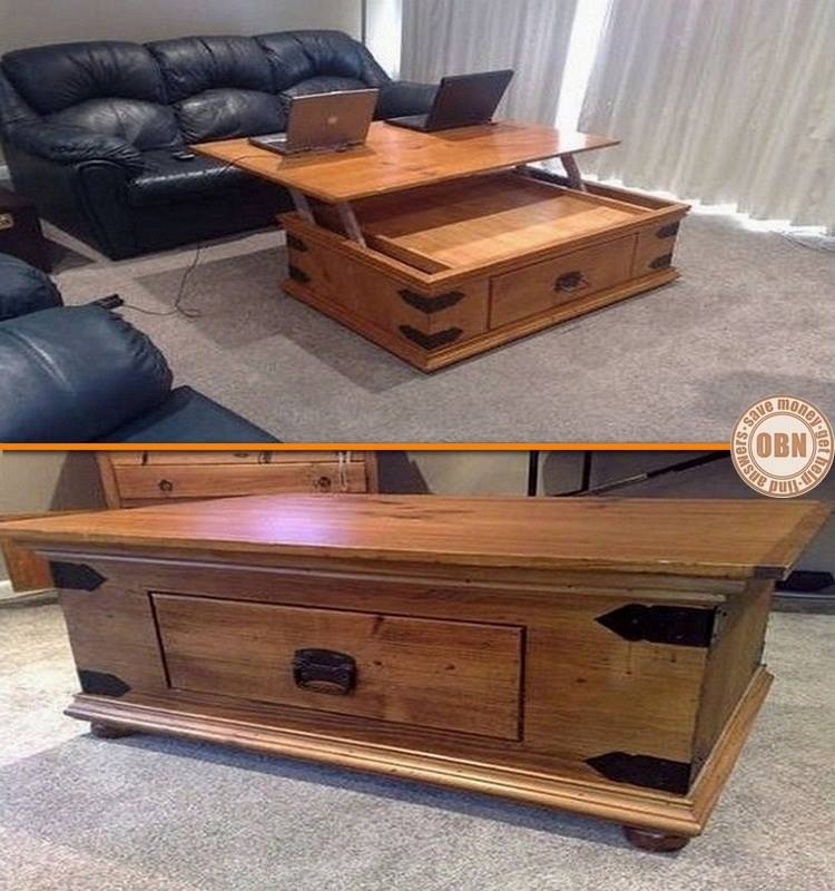 If you've ever tried using your laptop on top of a coffee table, you know it isn't comfortable. Here's a great idea for a dual purpose table. What do you think?