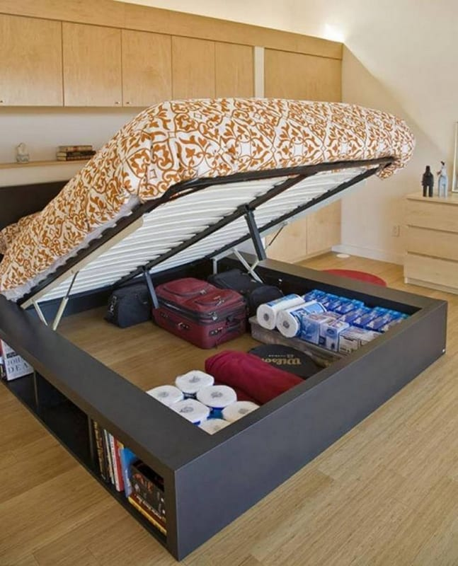 Keeping stuff under the bed totally makes sense, if you need to maximize storage in your bedroom. Agree or disagree?