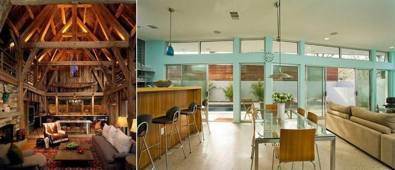 Two rooms - very different yet very similar. Both are open living, have high ceilings, clerestory windows and an outlook onto a closed courtyard. Which do you prefer and why?