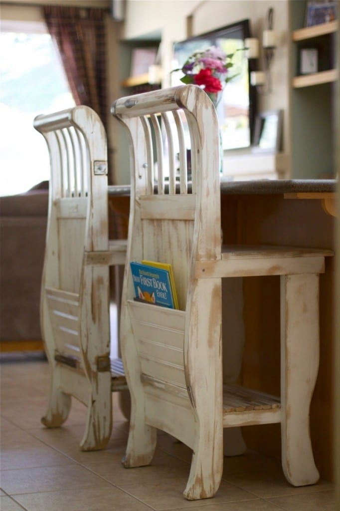 Looking for a way to repurpose an old crib? Why not build one of these kitchen countertop stools?  Do you have other ideas on how to repurpose an old crib? Share it with us in the comments section.