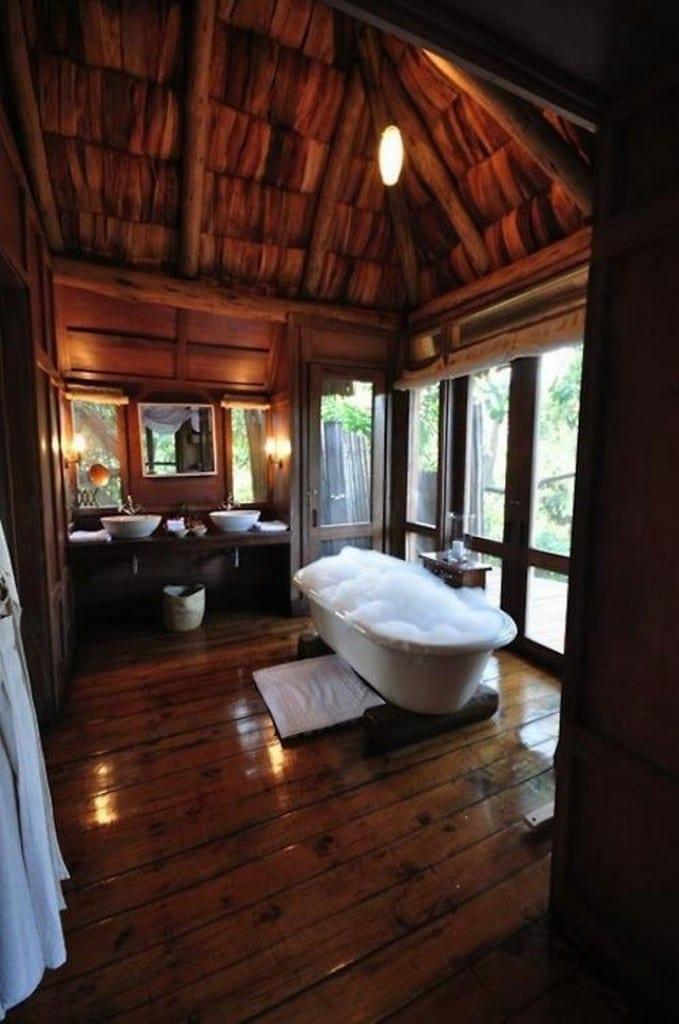 The log bathroom