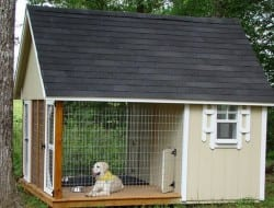 If you live in a rural or semi-rural area it is often difficult to contain your dog to a small area unless it is chained up (not very nice for mans' best friend).  This, on the other, is like Doggy Hilton!  And remember, this is just a design concept. Recycled timber, corrugated iron and some dog fencing might not look as spectacular, but I'm sure your dog will still be happy. :-)