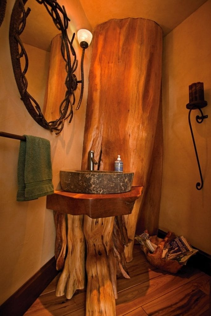 Life on a grand scale the owner builder network for Log cabin bathroom designs