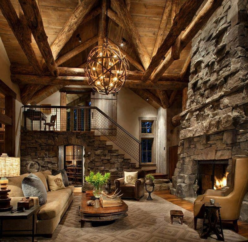 There is a lot of stone and wood in this room, but there are quite a few unique bits too - and did you notice the cellar?