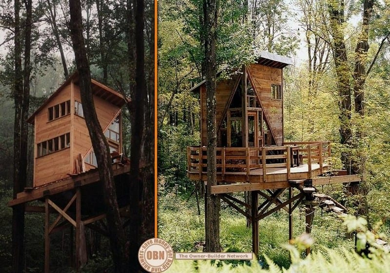 This tree house in the Catskill Mountains was created by Linda Aldredge out of scrap timber.