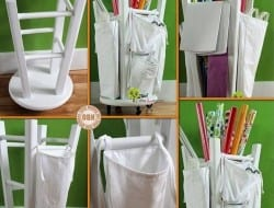 Looking for a simple DIY project for the weekend? With an old kitchen stool, casters, bags made from fabric and paint, you can make yourself a wrapping paper organizer!