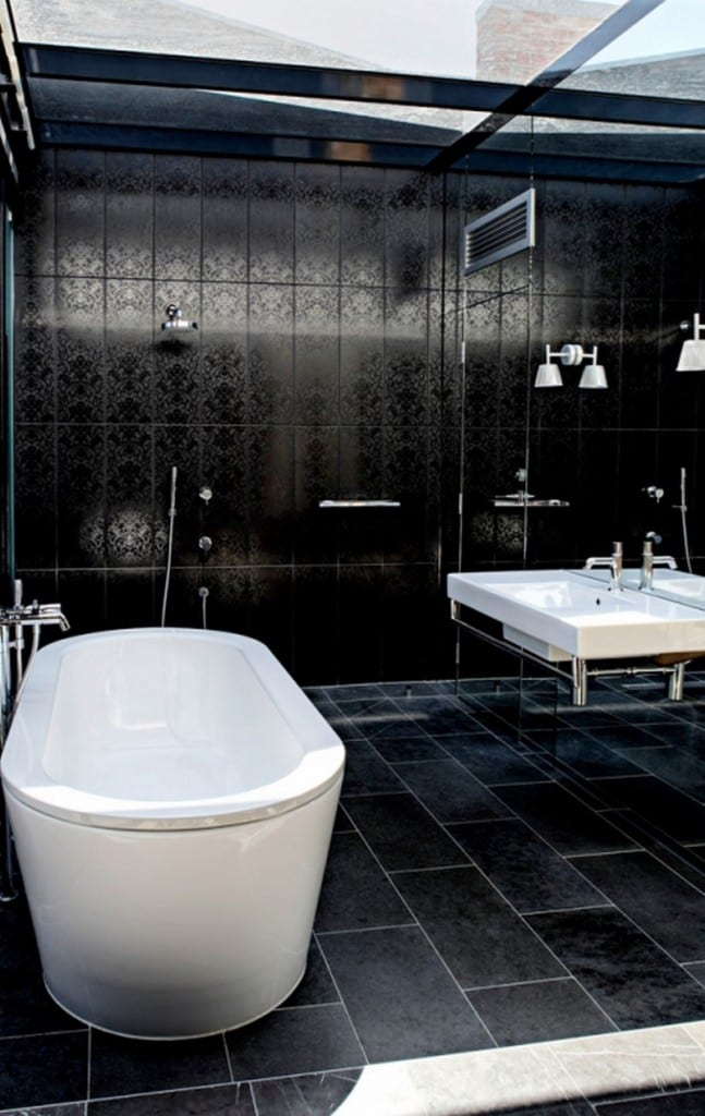 Dressed in black? Look at the ceiling. Yes, it is glass. The light would be fantastic but could you handle the darkness of the bathroom?   Thumbs up : Thumbs down  From Architects Eat