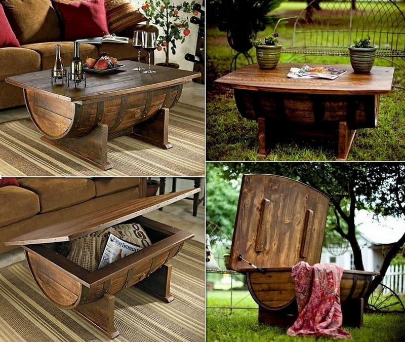 Unique, beautiful, ugly, boring? What word would you use to describe these wine barrel coffee tables?