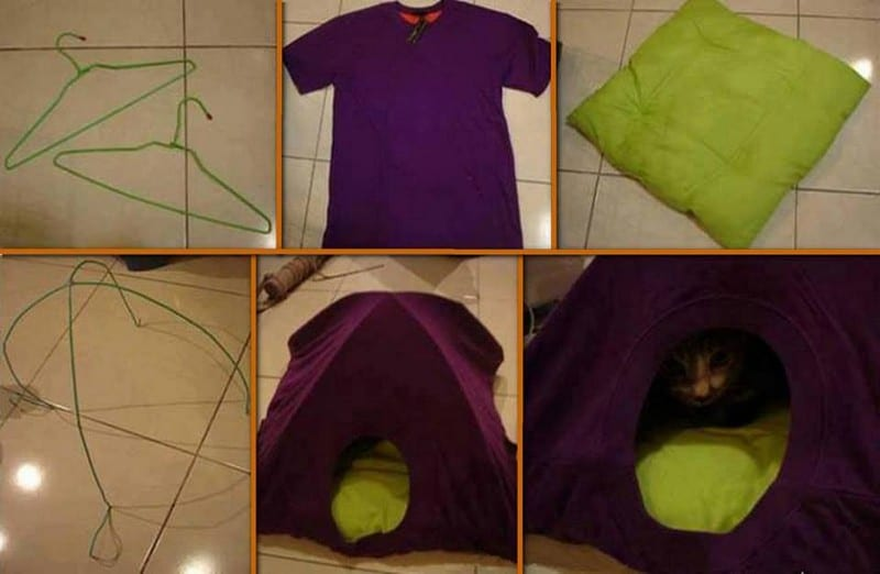 If you have a pet cat, then this project could be for you. With a T-shirt and two hangers you can build your pet a DIY cat tent.