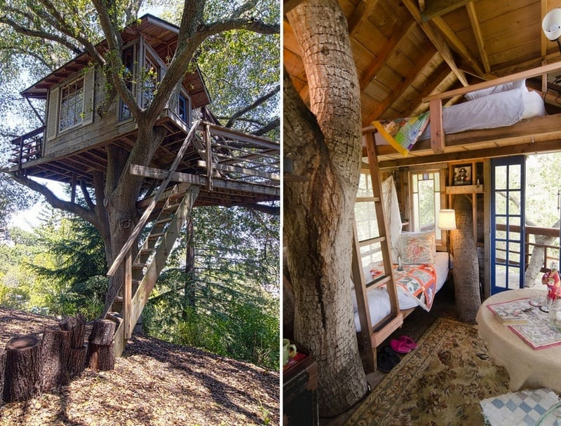 Most of the time we only get to see exterior shots of tree houses. Here's one with a shot of the inside. Would you like one in your backyard garden?