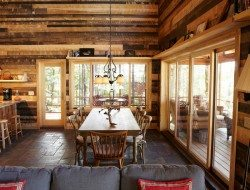 Smith Cabin red pine walls by Nguyen Architects