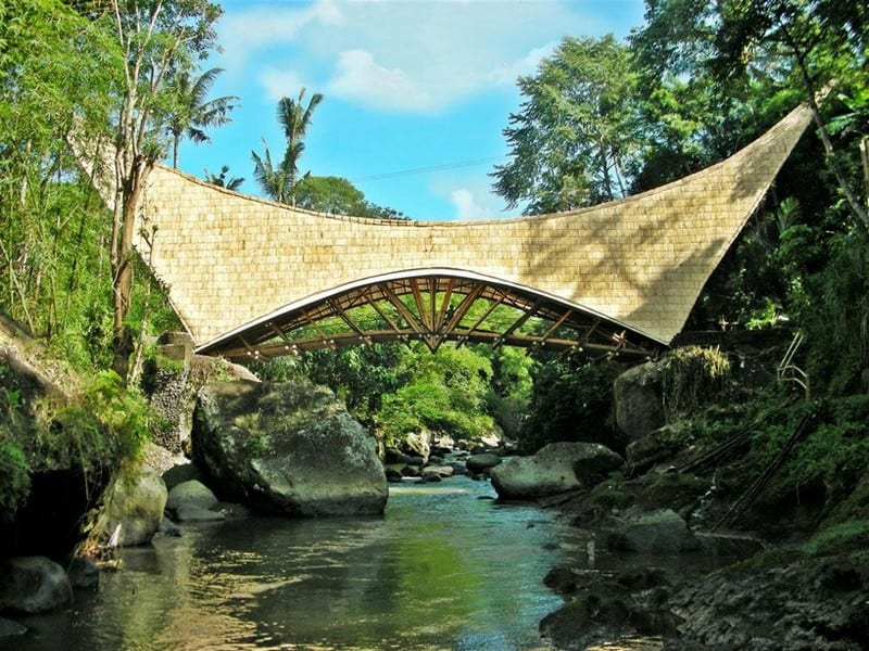 Imagine building this in just four months without the use of any machinery! This bridge links the Green Village and School of Bali with the outside world.   On this 10th anniversary of the Bali bombings that killed 202 innocent people, 88 of them Australians, we thought it fitting to show the beauty of Bali in memory of the tourists who never returned home.