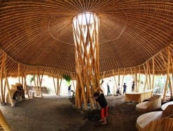 Here's another example of the extraordinary versatility of bamboo. The building will be used as a junior school.  When we came across the image it was attributed to architect Simon Velez, however the central light well is similar to another design by Jeorge Stamm.  What do you think of the gorgeous furniture!