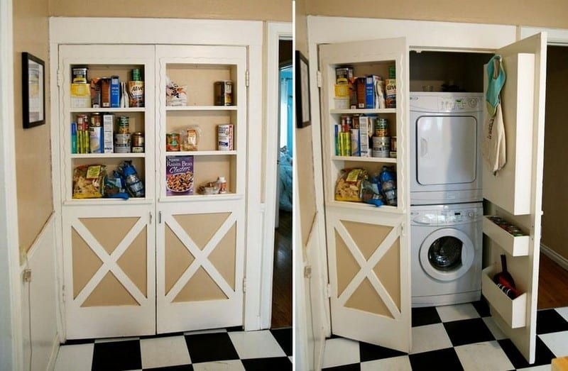 f you're living in an apartment, it's important to make the most of the space you have.  Here's a pantry cabinet that hides a compact washer and dryer set up behind it.