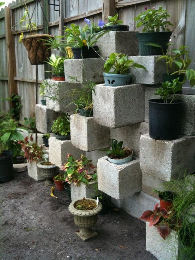 Cinder Block Vertical Planter