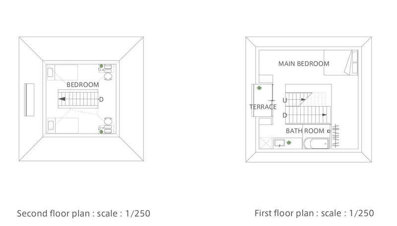 House in Saijo - First & Second Floor Plan