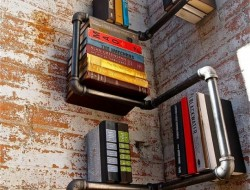 Corner Pipes Bookshelf - Domestic Peacock