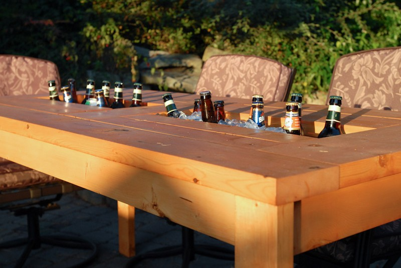 diy patio table with built in beer wine coolers the owner builder