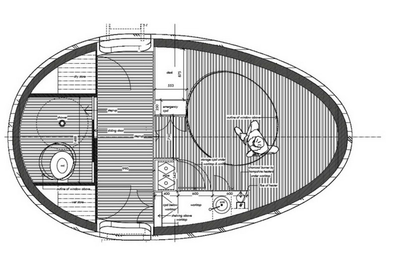 Floating Egg-Shaped Office - Plan 5