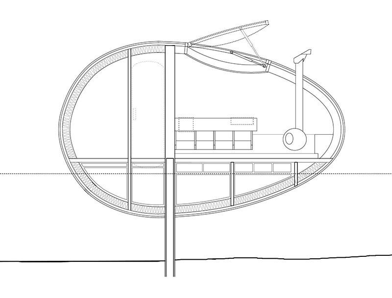Floating Egg-Shaped Office - Plan 1