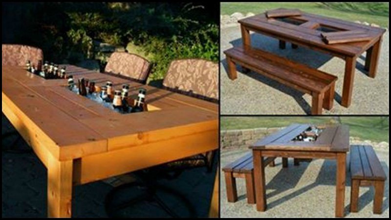 Who would want to be in a party and have to search out for the drink cooler?  Who would like to have to get up in the middle of a fun meal ... - DIY Patio Table With Built-in Beer/Wine Coolers The Owner-Builder