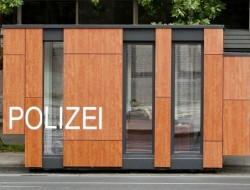 A shipping container converted to a police outpost in Germany