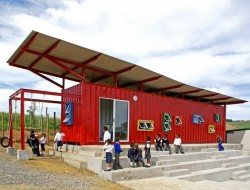 A shipping container classroom created for the underprivileged children in South Africa