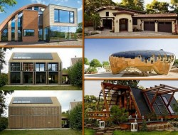 Here are some examples of passive houses (Passivhaus in German). They're designed to be ultra-energy efficient,, require very little energy for heating and cooling.