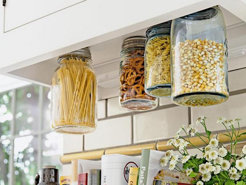 14. Hanging Mason Jar Storage - HGTV