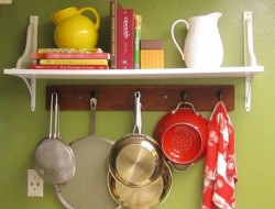 17. Pot Rack with Cookbook Shelf - A Room And A Whisk