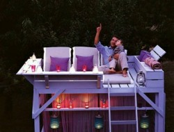 Turn an old bunk bed into a star gazing tree house!