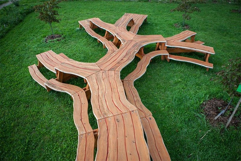 Branching Wooden Table By Michael Beitz