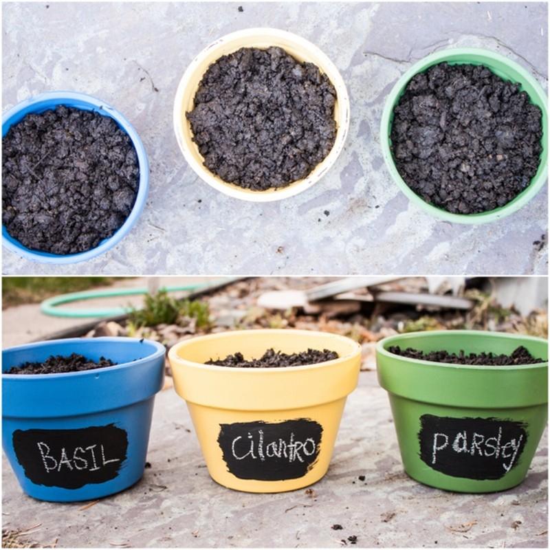 DIY Chalkboard Paint Herb Pots - The Owner-Builder Network