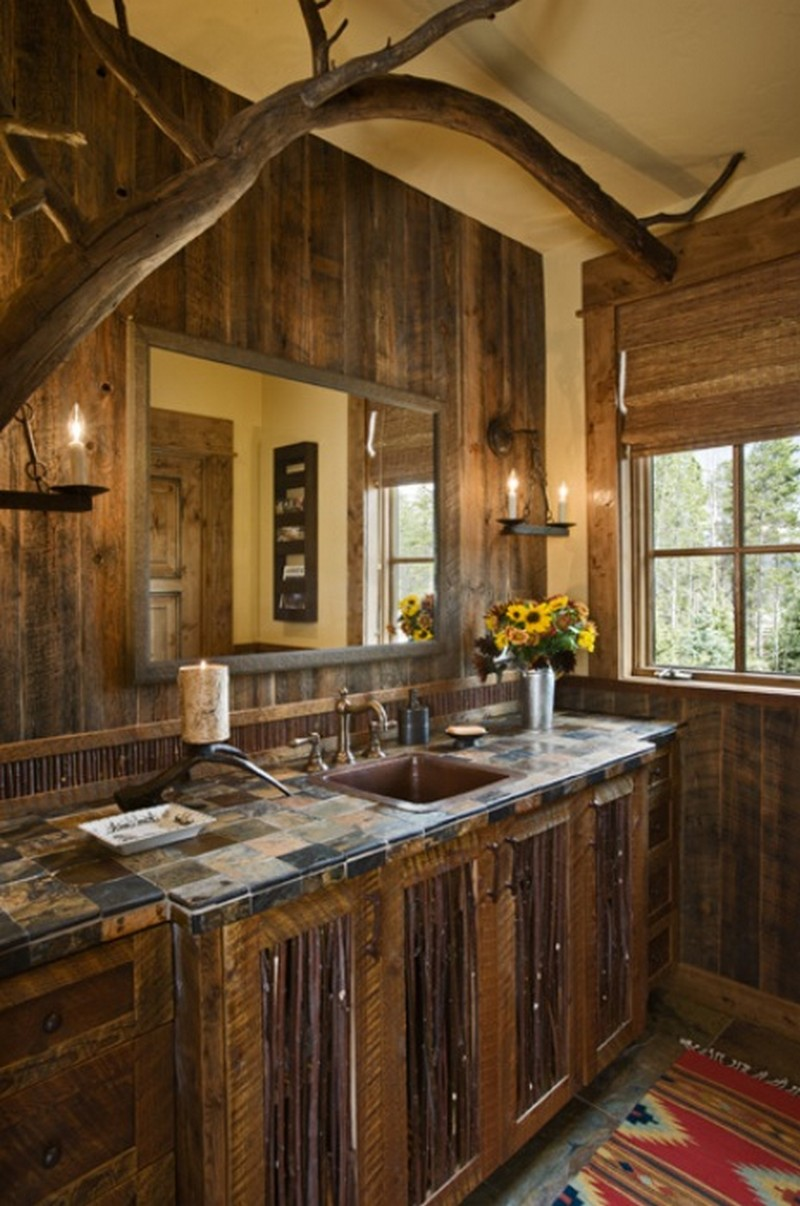 Rustic bathrooms rustic bathroom log home bathroom - Rustic dining room furniture bringing cozy nature atmosphere inside ...