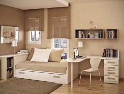 Brown Beige Nursery Bedroom with Study Table