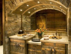 "This bathroom has ""rustic"" written all over it, and is clearly not for everyone. But it might spell ""you""!"