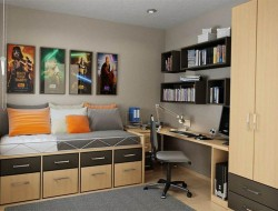 Organized and functional, isn't this a great bedroom for teenage boys?