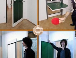 Don't have a games room, but long for a ping pong table? The simple solution is to put one in your door! The Ping Pong Door functions just like any ordinary door except there's an inner panel that flips down to make a ping pong table.