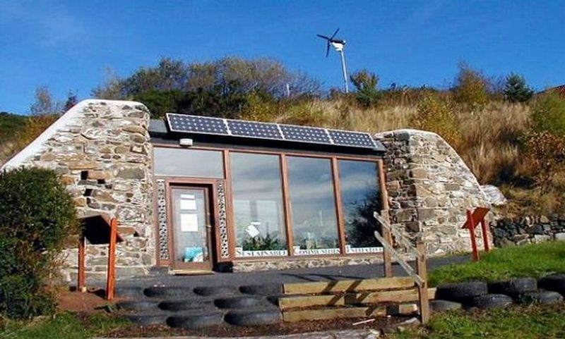 An Earthship – off the grid and self-sustaining.