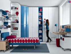 Red and White Teenage Girls Bedroom